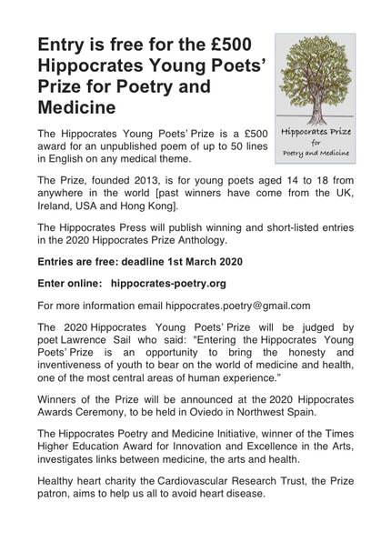 2020 Hippocrates Young Poets' Prize